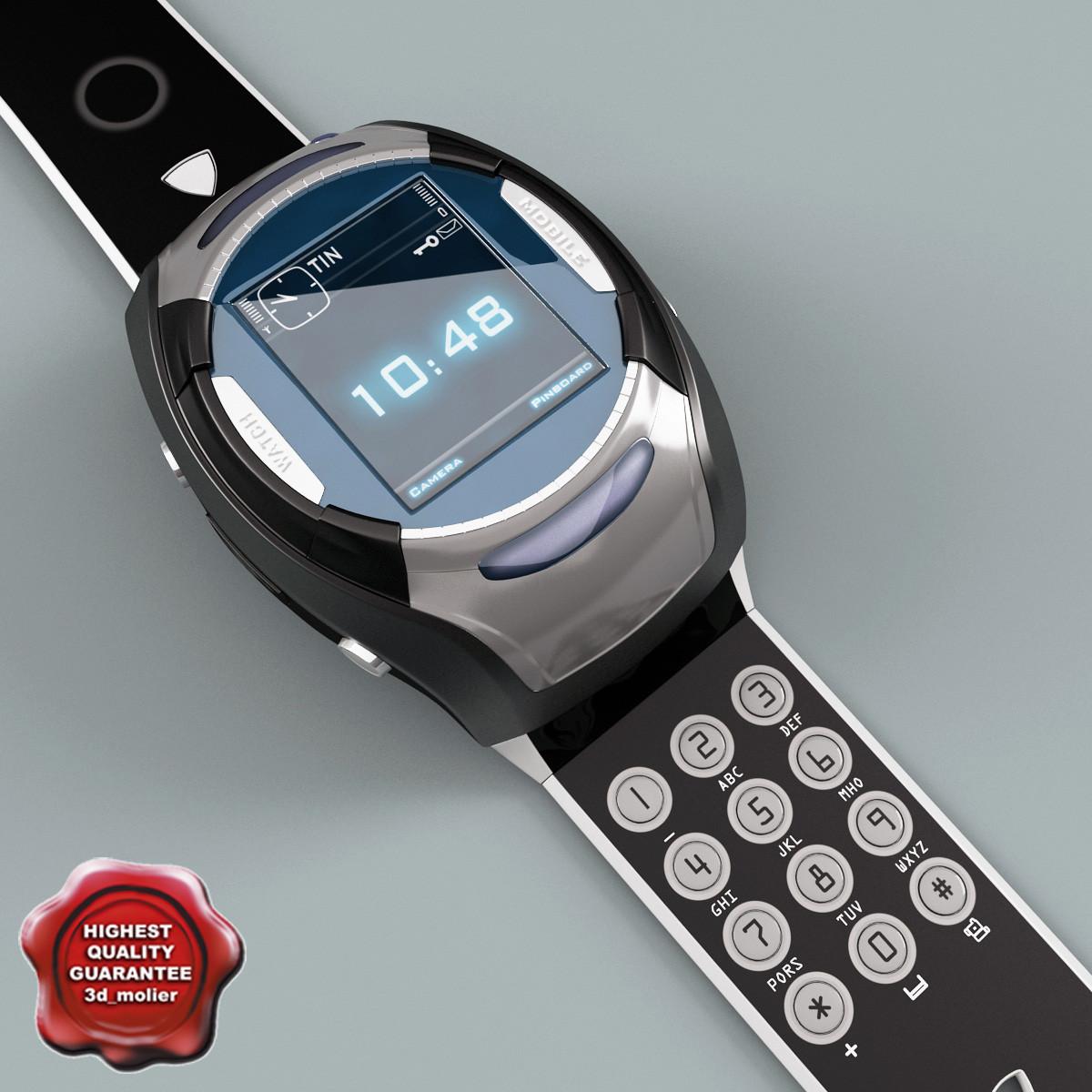 3d model clock mobile phone