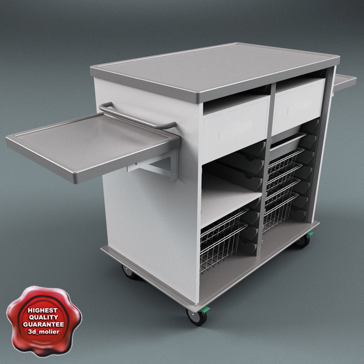 medical supply cart v2 3d model