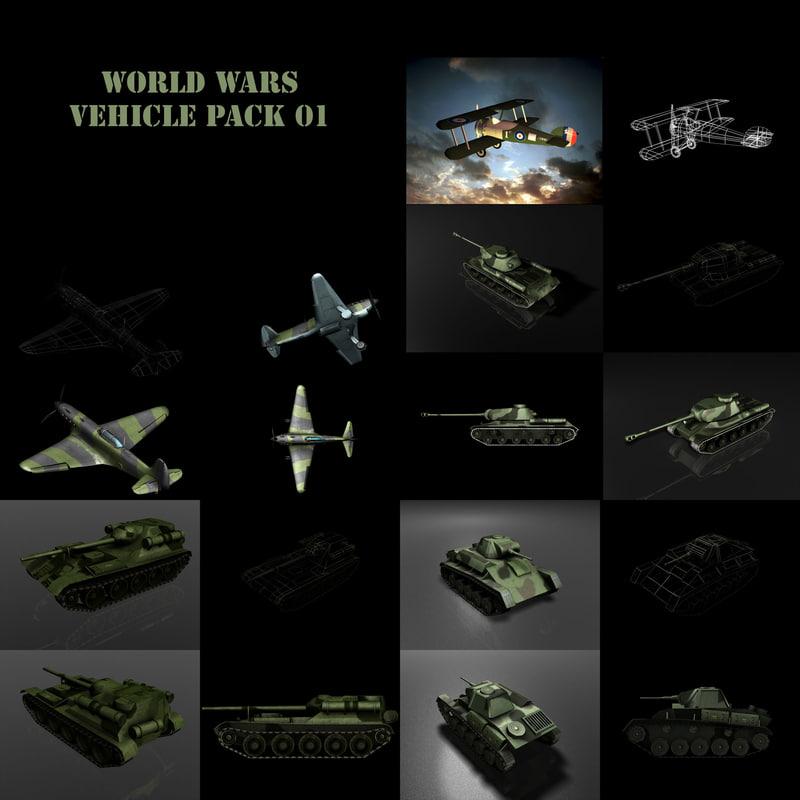3d model world wars pack 01