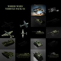 3d model world wars pack 01