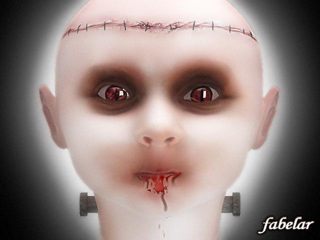 3d baby frankenstein head