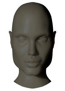 realistic head angelina 3d obj