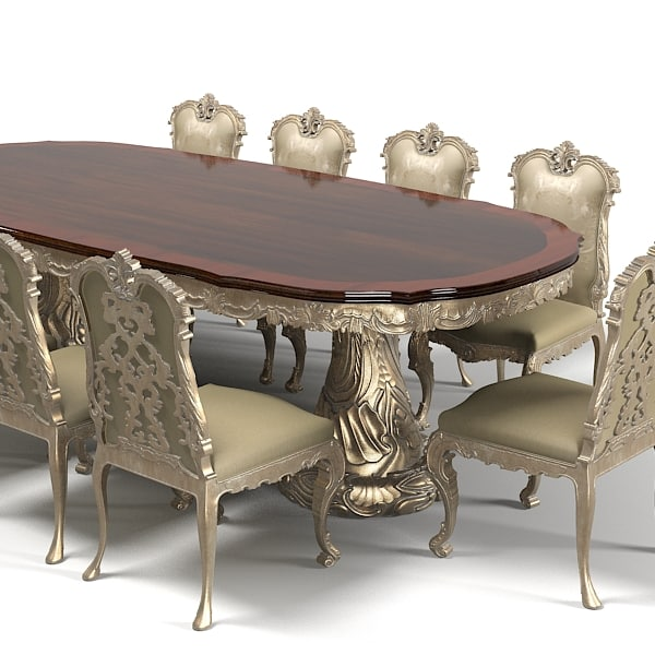Jumbo dining table chair stool set classic baroque wood carving carved  luxury rococo