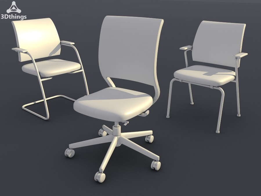 3d conference chair set09 -