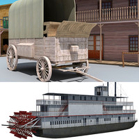 western town steam boat 3d lwo