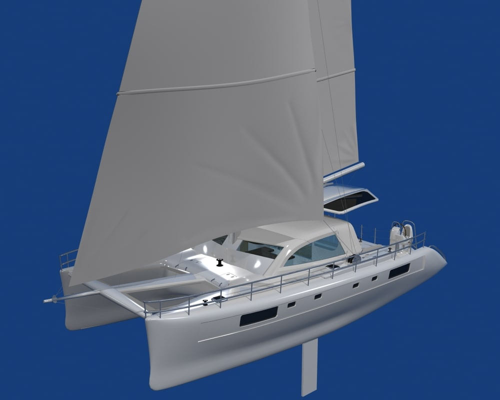 boat catamaran 3d obj