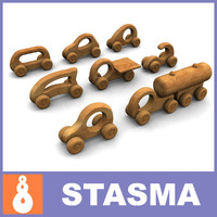 8 wooden  cars