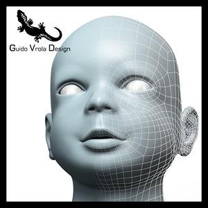 3d model baby head