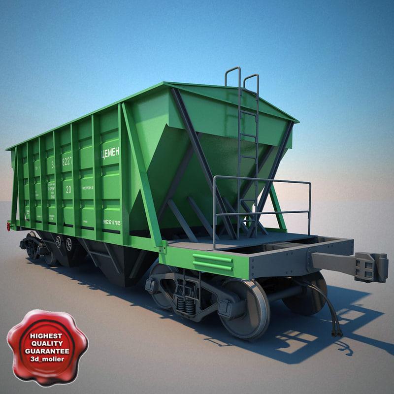 covered hopper wagon 11-715 3d c4d