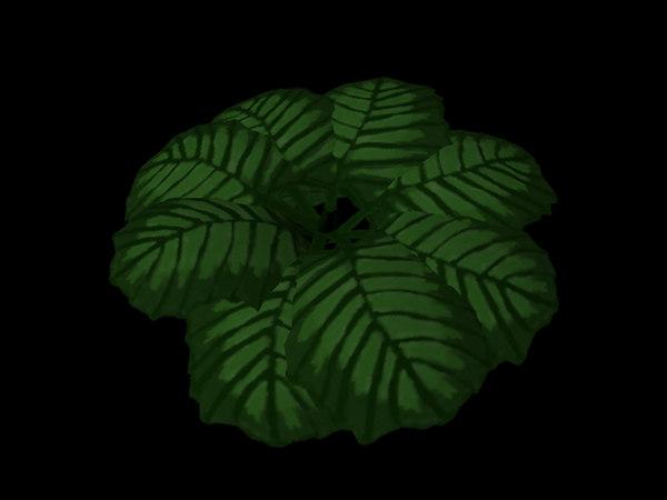 3d green leafy shrub model