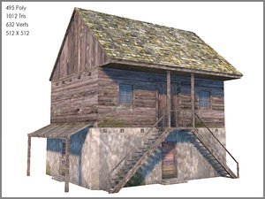3d cottage games model