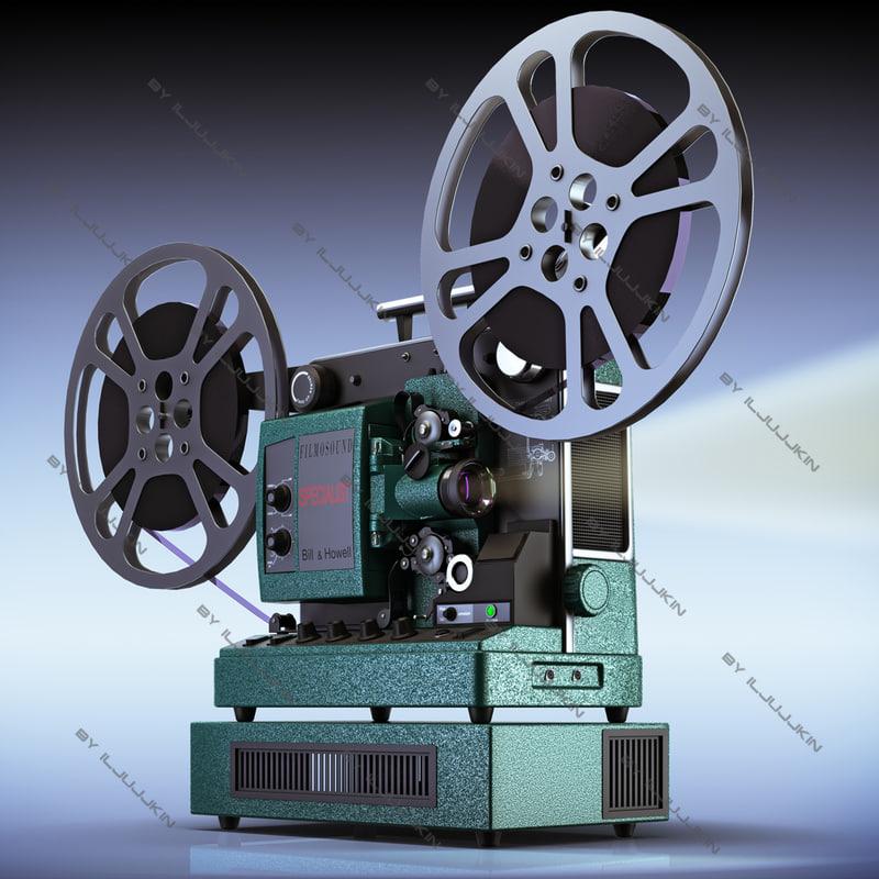 retro film projector 16mm 3d model