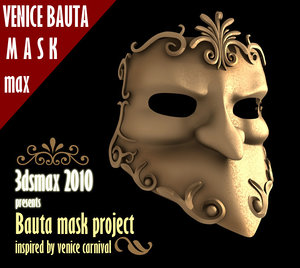 bauta mask venice carnival 3d model