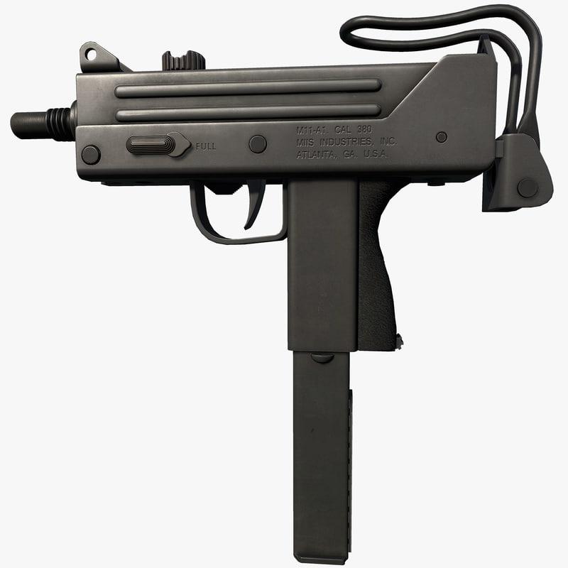 mac-11 magazine weapon 3d max