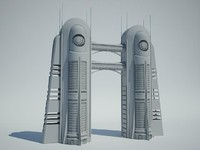 futuristic sci fi building 3ds