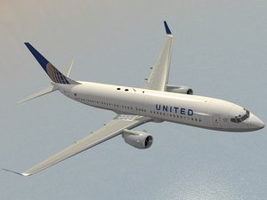 3d boeing 737-800 united airlines model