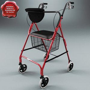 3d model folding 4 wheel walker
