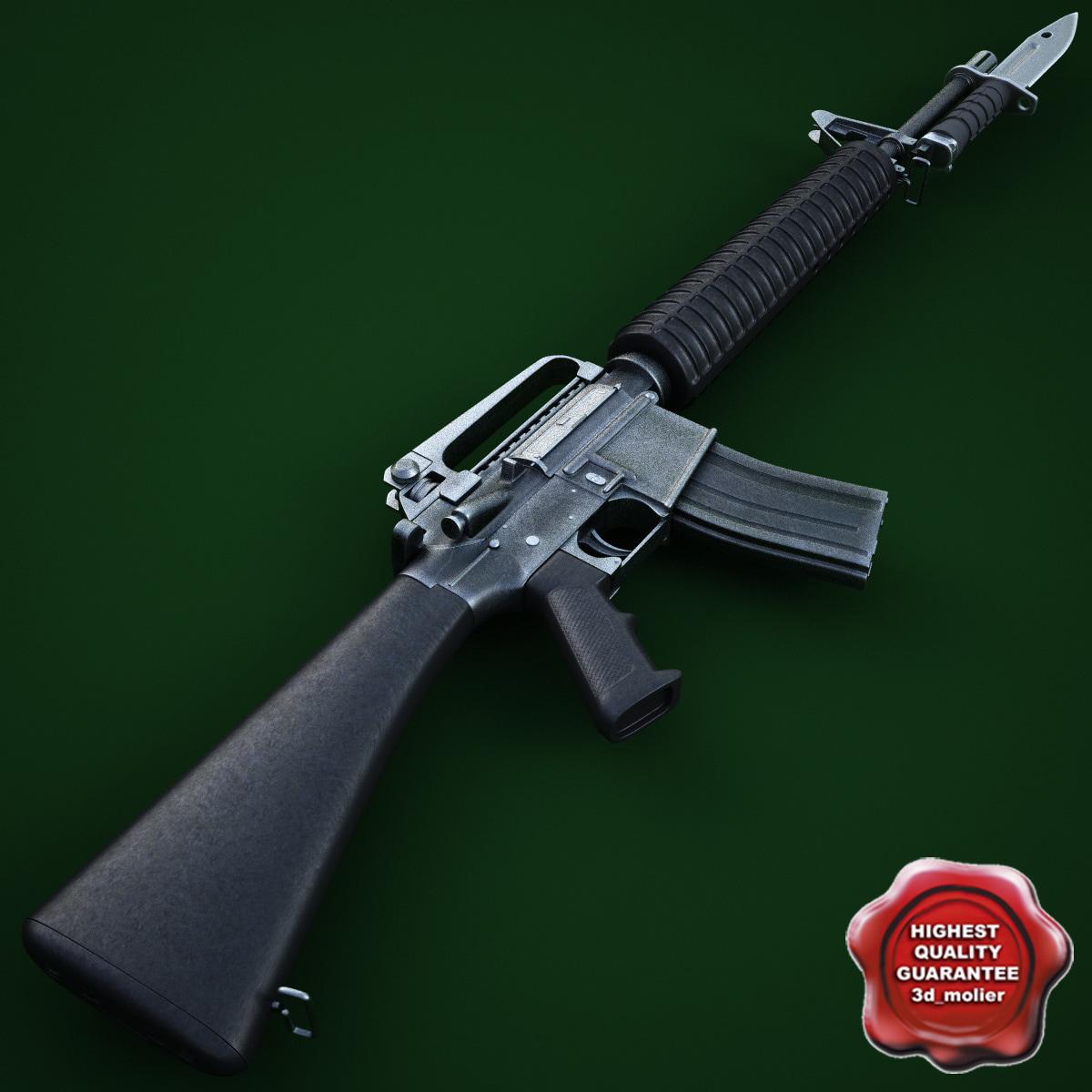M16 With Bayonet m16 a4 m9 bayonet 3d c...