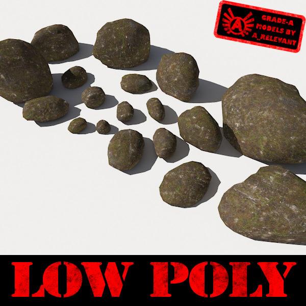 3ds stones - boulders pebbles
