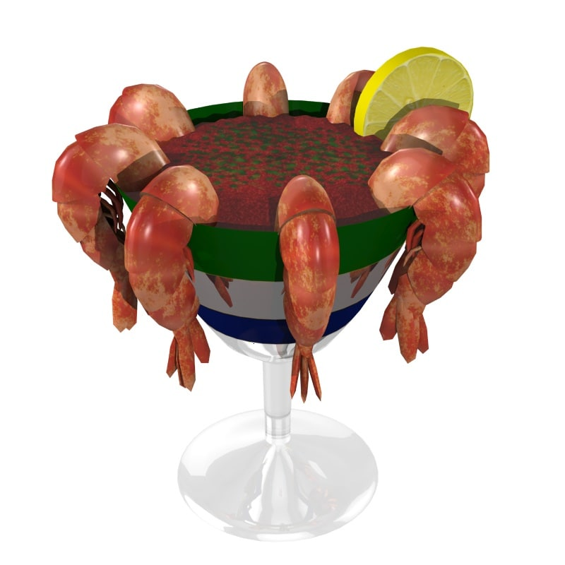 3d model of shrimp cocktail