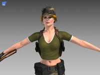 3d soldier girl model