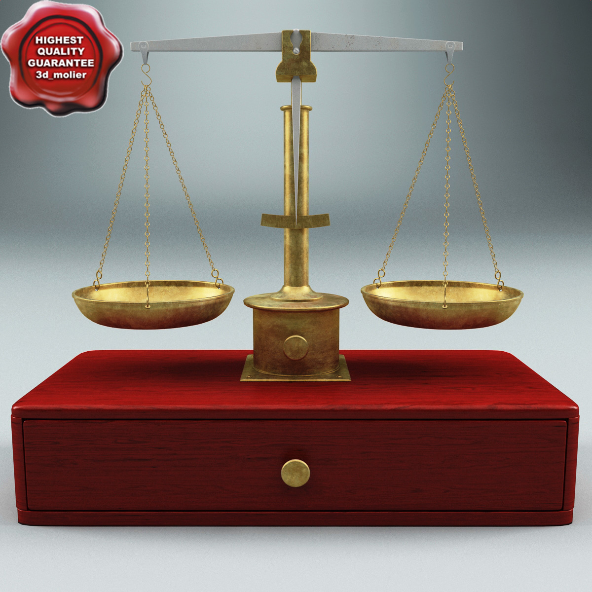 old balance scales 3d model