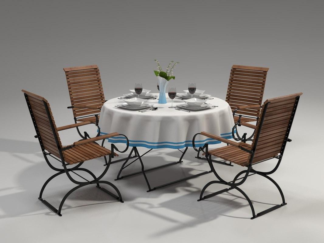 3d model table chair tableware
