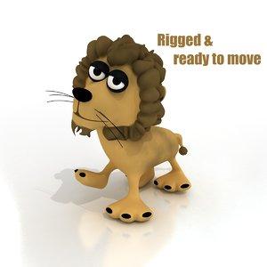 cartoon lion rigged 3d model