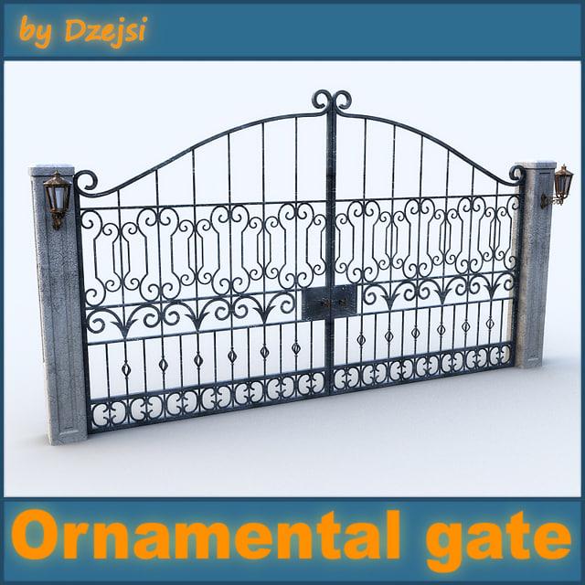 3d model old ornamental gate 2