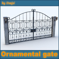 3d model old ornamental gate 2