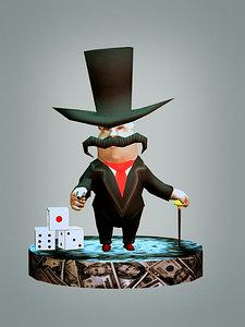 bully godfather monopoly 3d model
