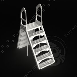 ground pool stairs 3d model