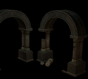 3d model archway window pillars