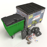 kit industrial bins 3d model