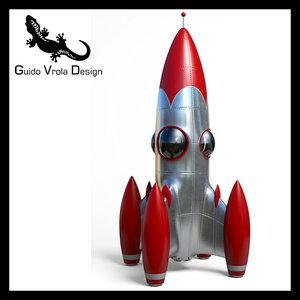 cartoon space rocket obj