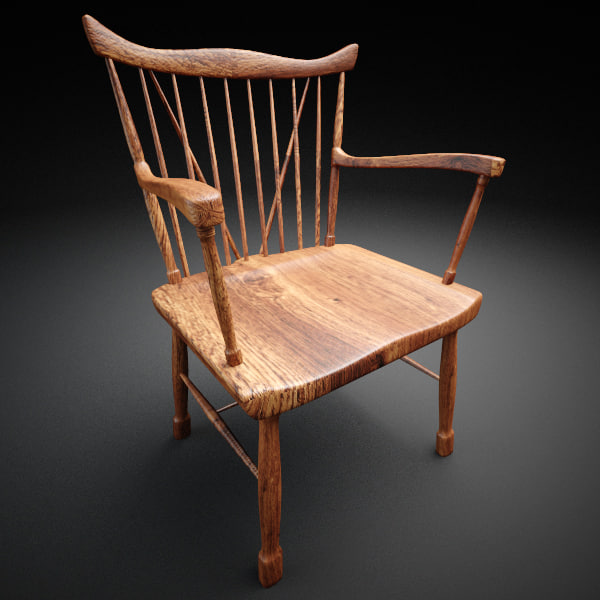 3dsmax wooden armchair