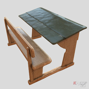 old school desk 3d max
