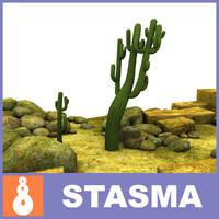 3d obj cactus stones