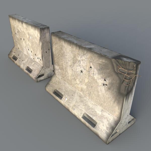 battle concrete baracades 3d model