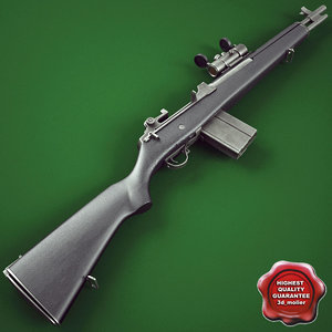 3d model m14 socom rifle red