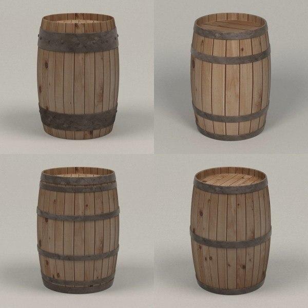3d wooden barrels