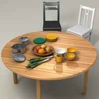 vegetables table kitchen obj