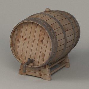 wooden barrel 3d 3ds