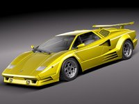 3d lamborghini countach 5000qv 25th