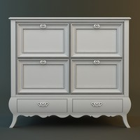 3d model antique white dresser