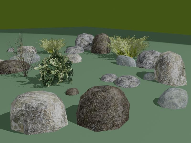 rocks shrubs 3d model