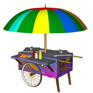 cart corn dog 3d model