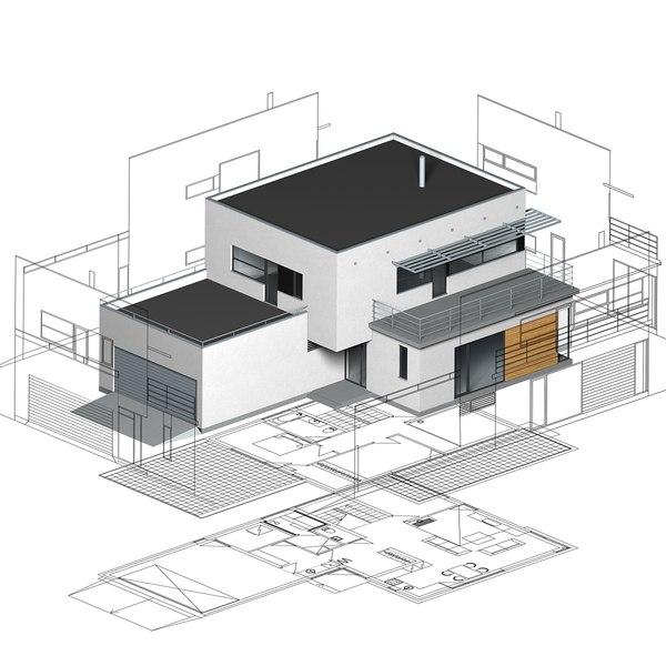 functionalist building elevations 3d model