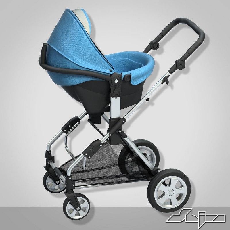 3ds max baby pram 2