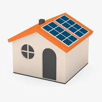 3ds cartoon house solar panels